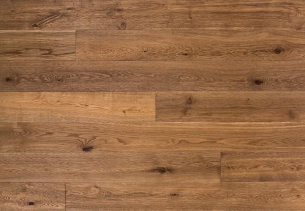 Massivholzdiele Wildeiche wellengehobelt tiefgebürstet geräuchert gelaugt leicht weiß geölt - 90144