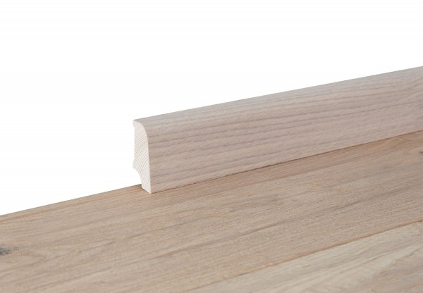 Sockelleiste furniert Typ5 Eiche weiß matt lackiert - 11085